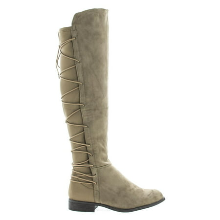 Oksana118 by Wild Diva, Black Suede Knee High Riding Boots w/ Stretchy Elastic Back Gore & Laced Design