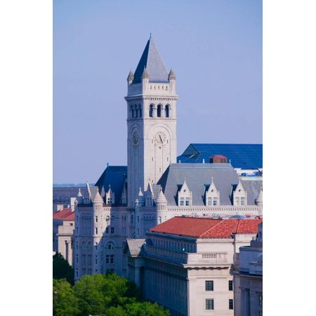 Elevated view of historic Old Post Office tower in Washington D.C. Print Wall