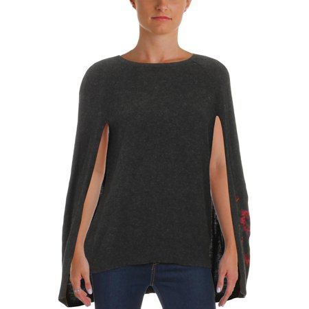 Lauren Ralph Lauren Womens Mavinia Wool Blend Embroidered Cape (Yves Saint Laurent Silk Sweater)