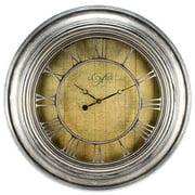 La Crosse Clock 404-2661 24 Inch Weathered Silver Quartz Wall Clock with Cut-out Numerals