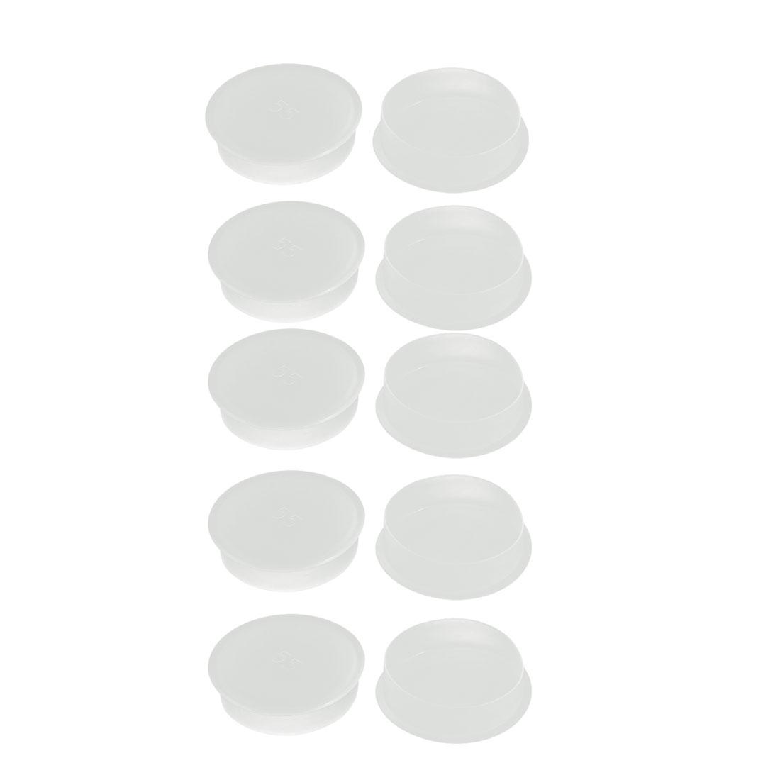 Unique Bargains 10pcs M55 PE Flat Blanking End Tube Insert Cap Round Cover Transparent - image 2 de 2