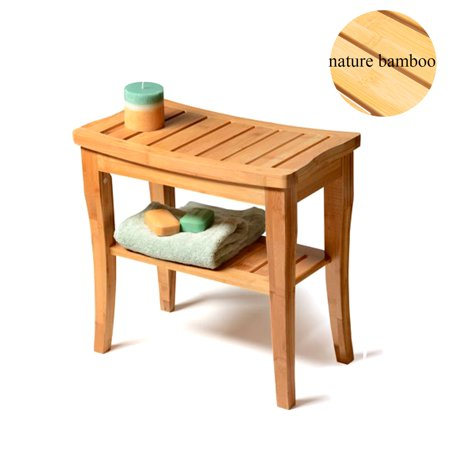 UBesGoo Medical Spa Storage Teak Bamboo Shower Bench Safety Bath Chair Stool Wood - Plastic Shower Stools