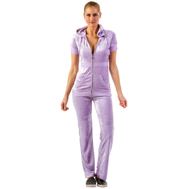 Vertigo Paris Vertigo Paris Women S Short Sleeve Logo Velour Tracksuit Jog Set Purple Small Walmart Com Walmart Com