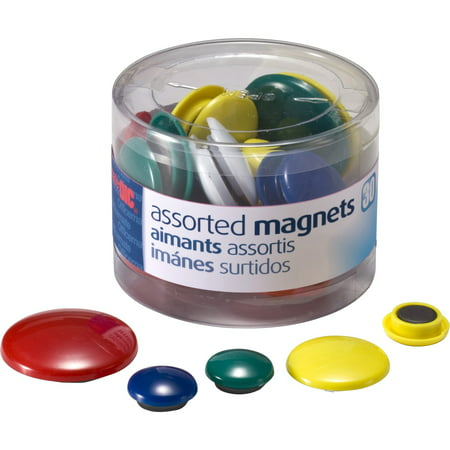 Officemate OIC Magnets, Assorted Sizes and Colors, 30/Tub (92500)