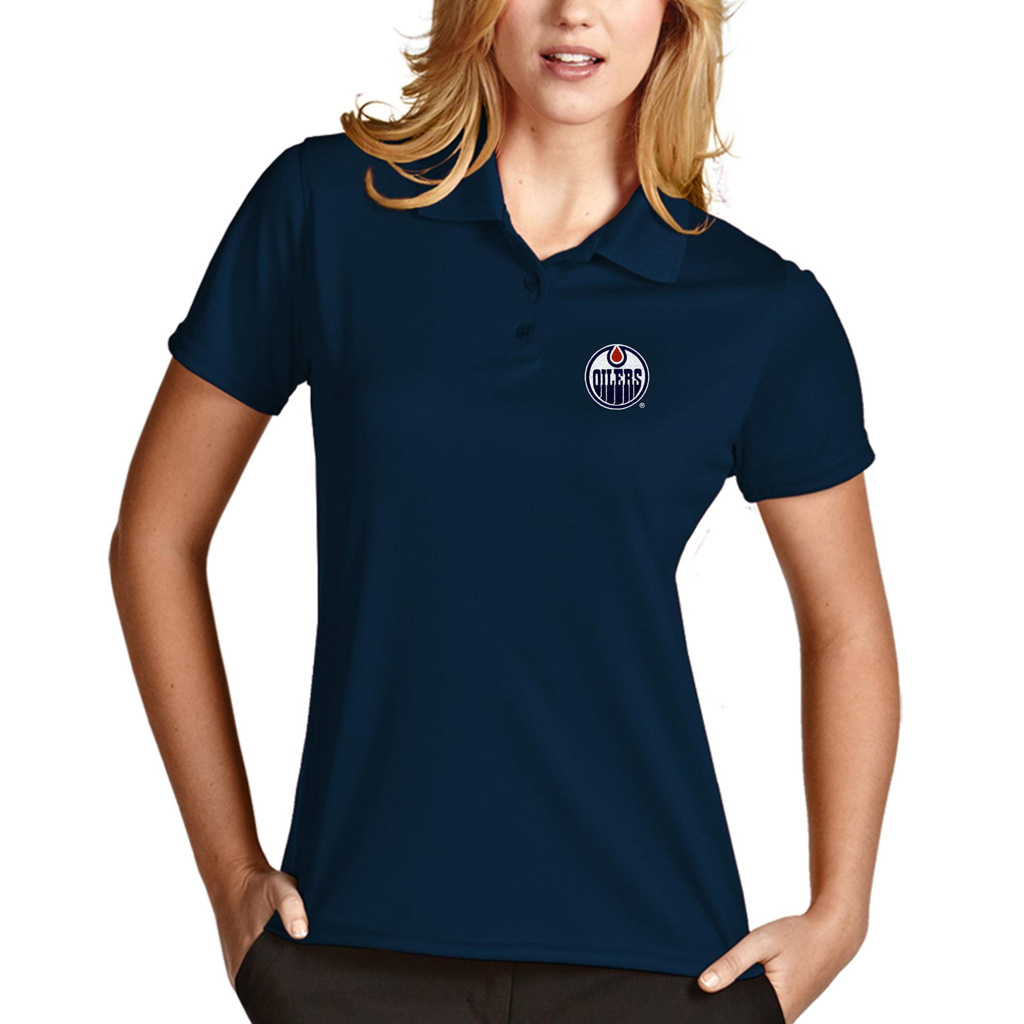 Edmonton Oilers Antigua Women's Exceed Desert Dry Xtra-Lite Polo - Navy