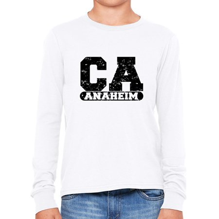 Anaheim, California CA Classic City State Sign Boy's Long Sleeve T-Shirt](Anaheim City)