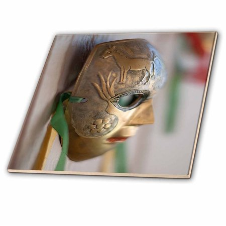 3dRose A Metal Masquerade Face Mask Hanging on a Wall Shot From The Side Hanging Outside - Ceramic Tile, 8-inch ()