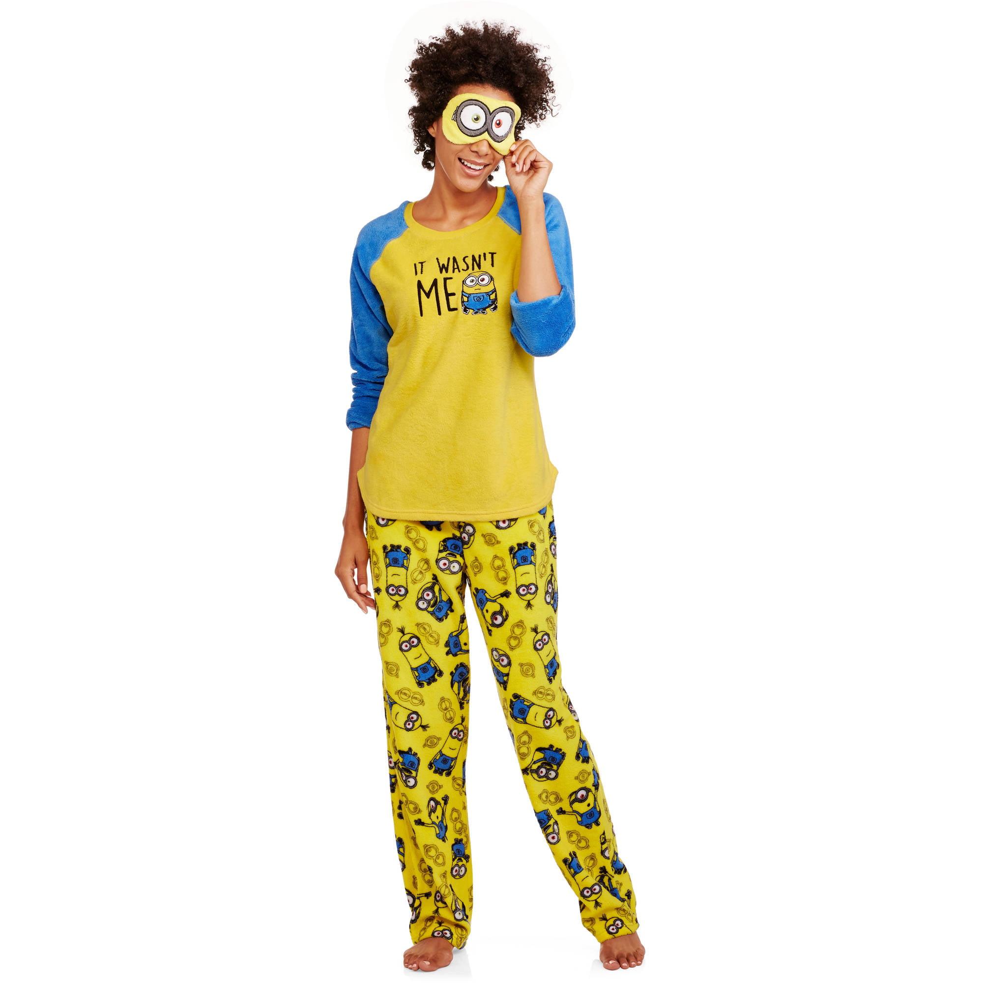 4958d71ec74d Despicable Me - Minions Women s License Pajama Plush Fleece Sleep Top and  Pant 2 Piece Giftable Sleepwear Set - Walmart.com