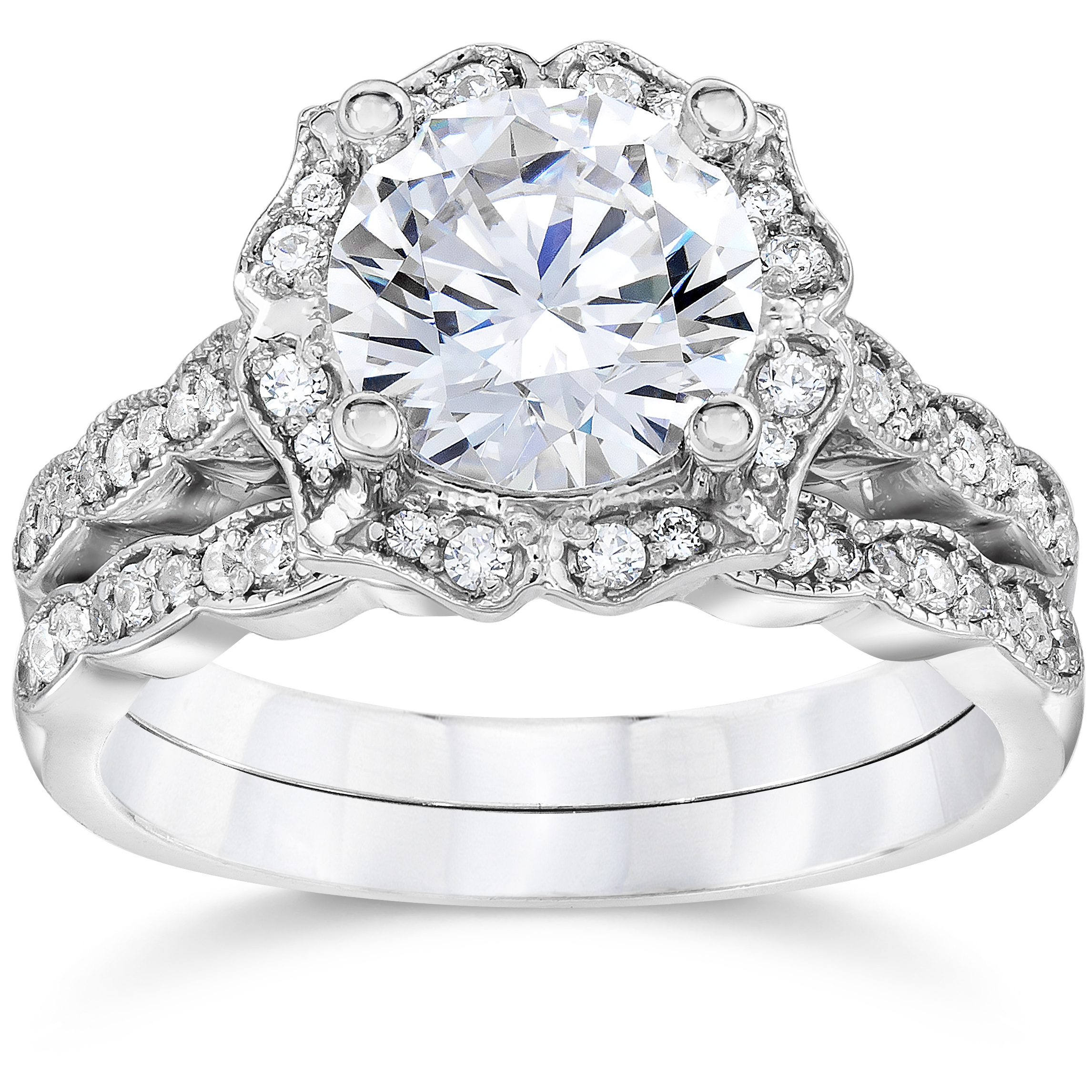 2.00Ct Diamond Vintage Halo Engagement Ring 14K White Gold Wedding Ring Set by Pompeii3