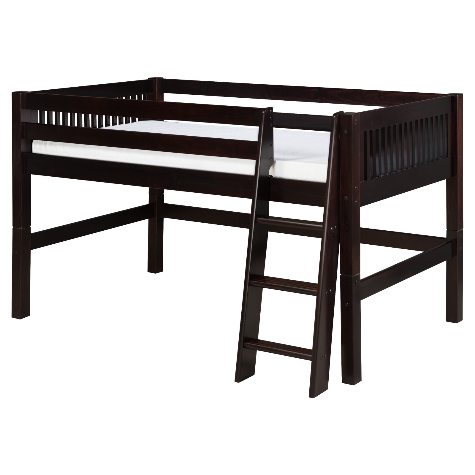 Camaflexi Full Size Low Loft Bed Mission Headboard White Finish by EcoFlex Furniture
