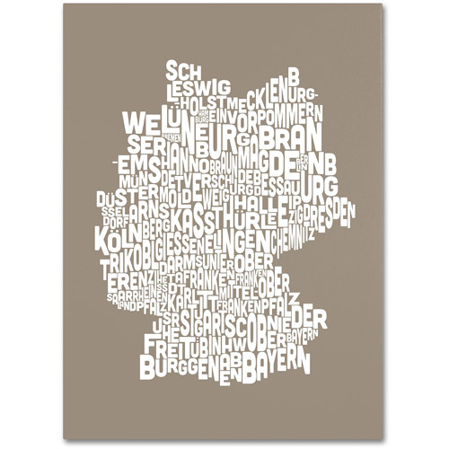 Trademark Art 'TAUPE-Germany Regions Map' Canvas Art by Michael Tompsett
