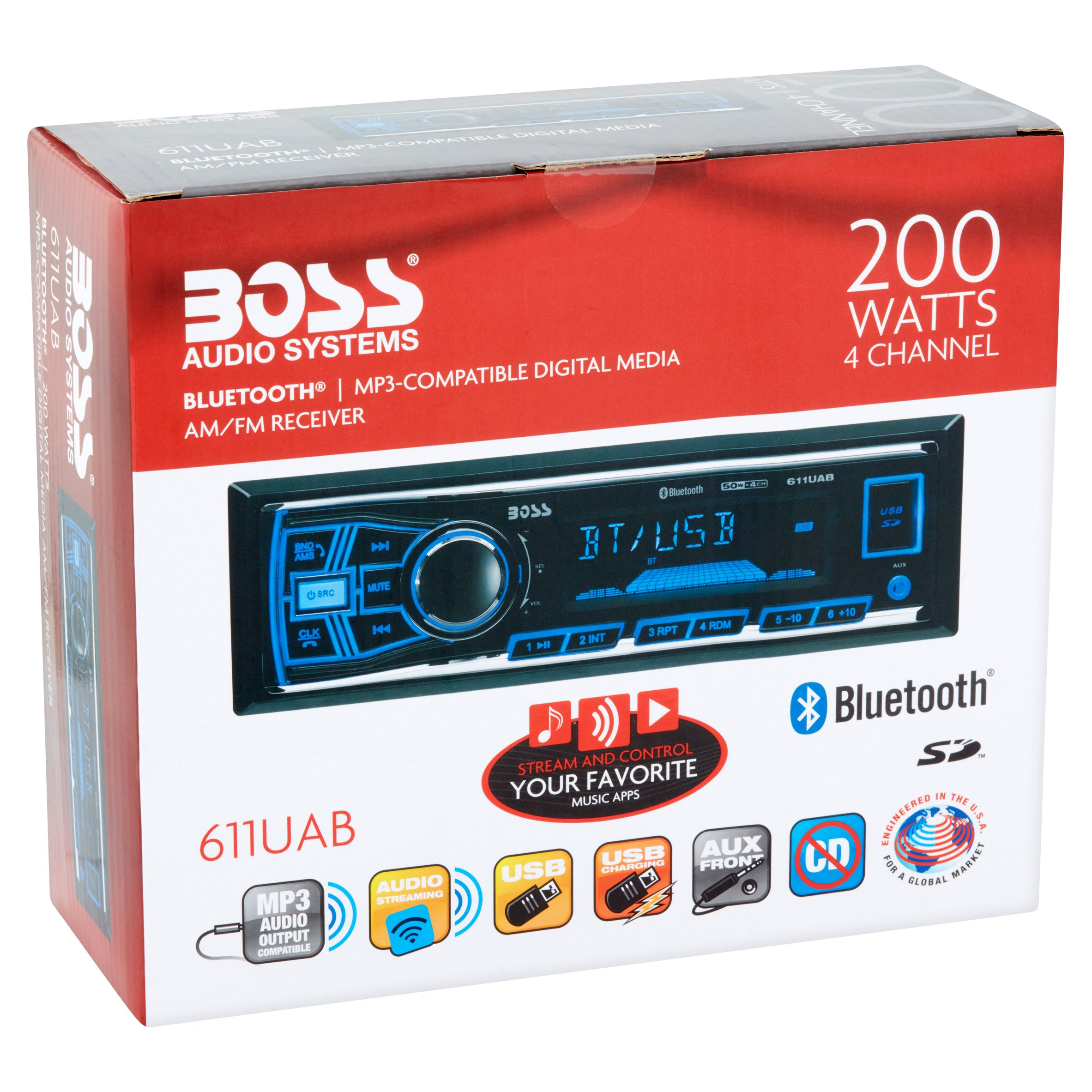 Boss Audio 650ua Car Stereo Wiring Diagram Electrical Diagrams Radio 611uab Single Din Mech Less Receiver Of