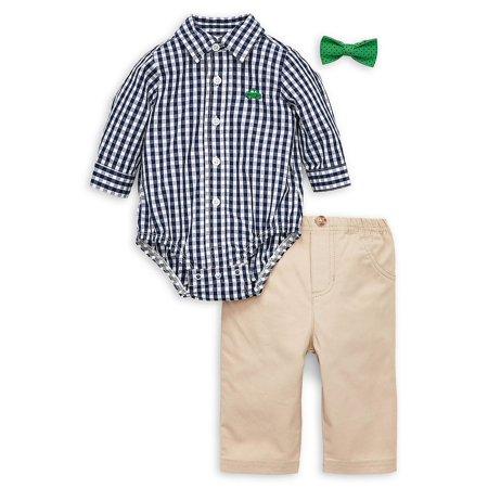 Baby Boy's 3-Piece Cotton Collared Bodysuit, Pants & Bow Tie (3 Piece Pant Suit)