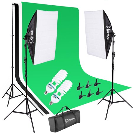 Ktaxon Photography Studio Video Photo ChromaKey Green Screen Background Support Kit with 2 Point Softbox Lighting - Halloween Screen Backgrounds
