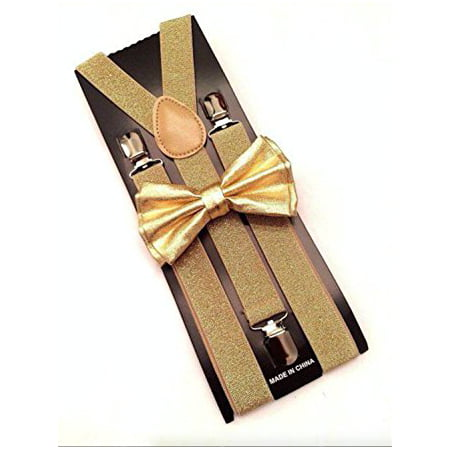 Ties And Suspenders (Gold Metallic Mens Bow Tie and Suspenders Set Glitter Prom Wedding)
