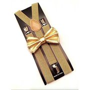 Gold Metallic Mens Bow Tie and Suspenders Set Glitter Prom Wedding Party