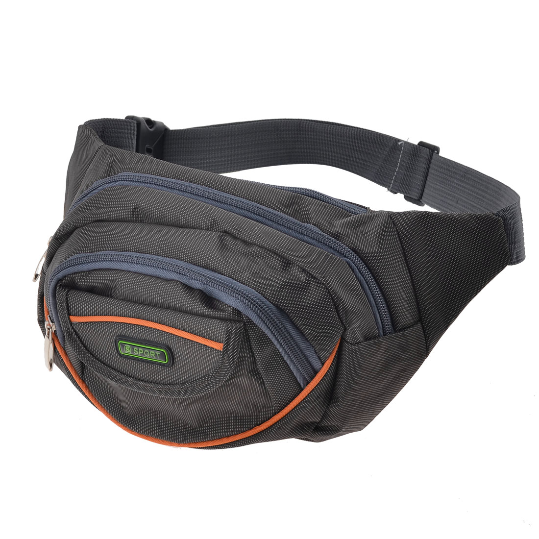 Unique Bargains Men's Hiking Portable Zip Up 4 Compartments Gray Nylon Leisure Waist Pack