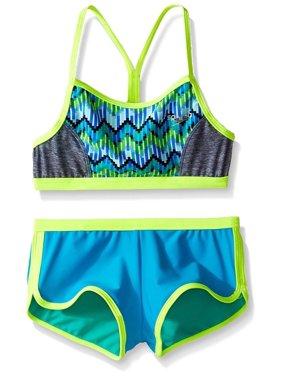 5161e043dc Product Image Speedo Girls Digi Zig Zag Heather Two Piece Boyshort Bikini  Set, Blue, Size 8