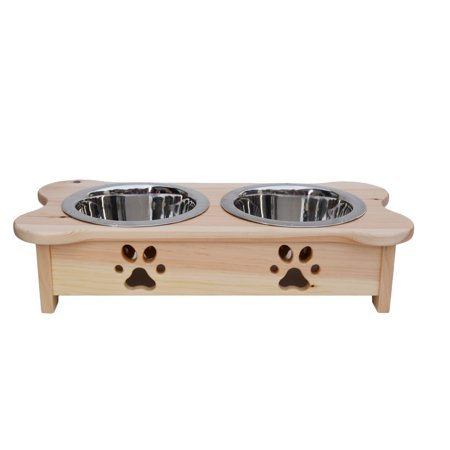 Indipets Inc Elevated Dog Food Diner with Paw Print in Natural Wooden Finish