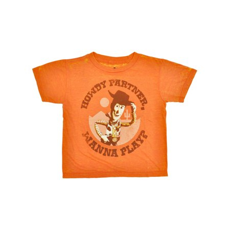 Boys Toy Story Woody T-Shirt - Short Sleeve Orange Size 7
