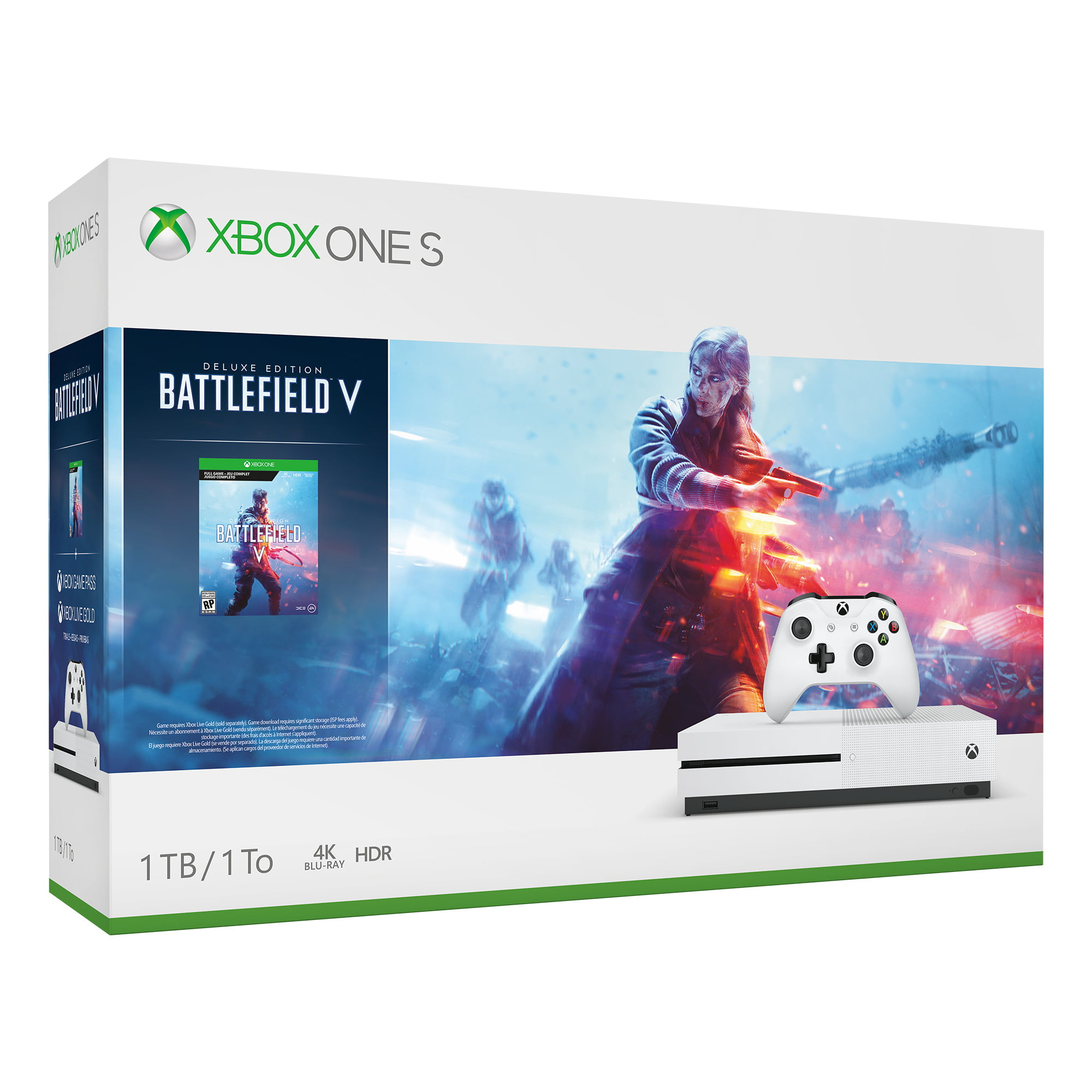 Microsoft Xbox One S 1TB Battlefield V Bundle, White, 234