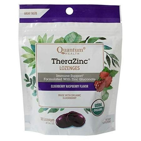 2 Pack - Quantum Organic TheraZinc Lozenges Immune Support for Cough Relief Elderberry Raspberry Flavor, 18