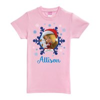Personalized All I Want for Christmas Toddler Girl Pink Fitted Tee