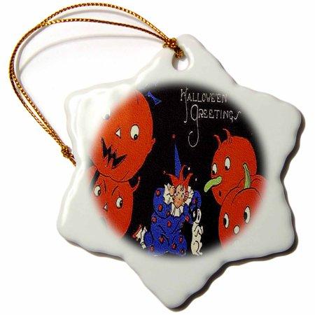 3dRose Halloween Jack o Lanterns, Clown and Dog, Snowflake Ornament, Porcelain, 3-inch - Clown Jack O Lantern