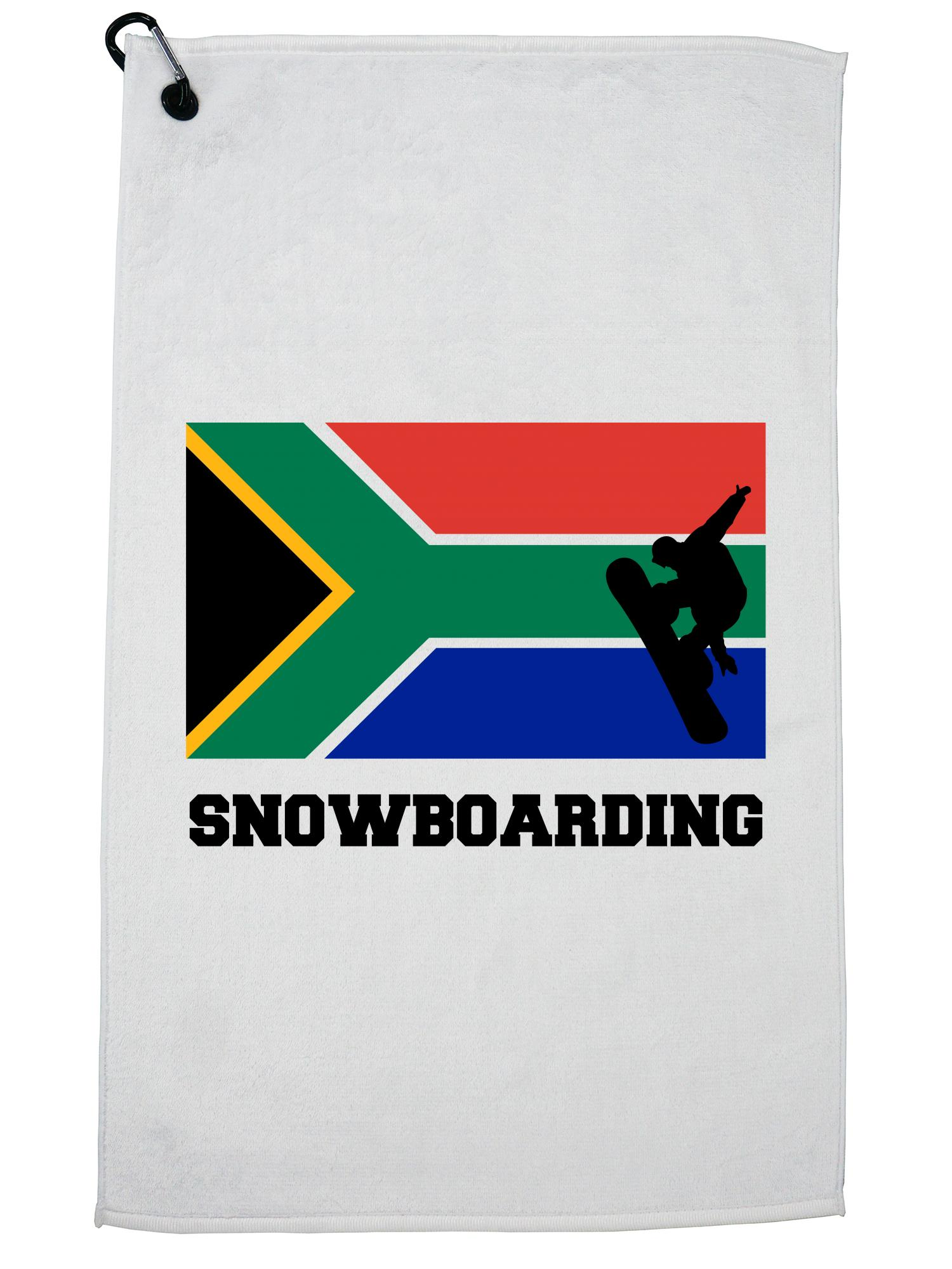 South Africa Olympic Snowboarding Flag Silhouette Golf Towel with Carabiner Clip by Hollywood Thread