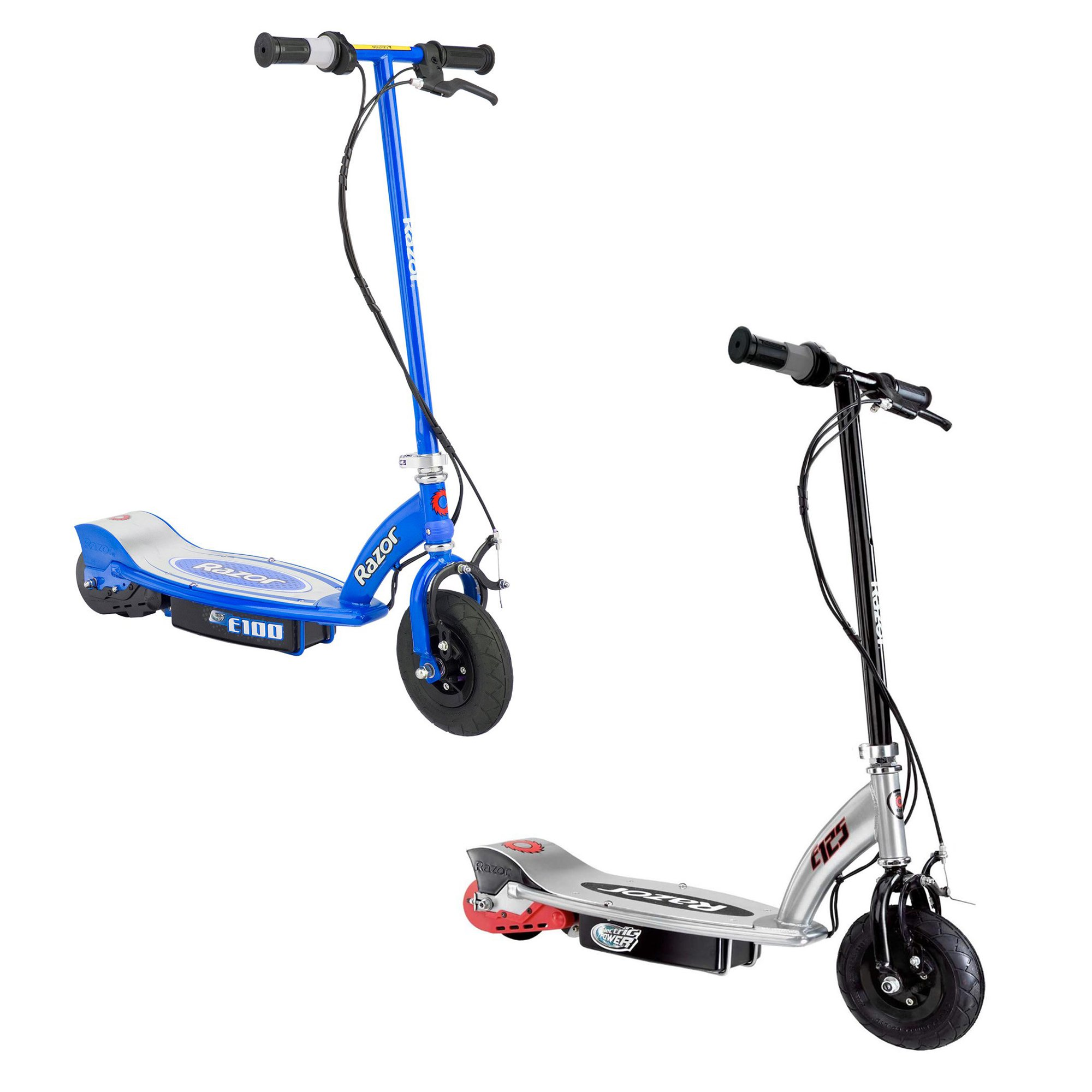 Razor E100 Motorized Rechargeable Kids Toy Electric Scooters, 1 Black & 1 Blue