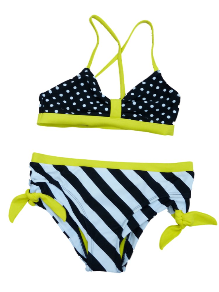 Joe Boxer Girls Black Polka Dot Swimming Suit Swim Tankini Bathing Suit 2 PC