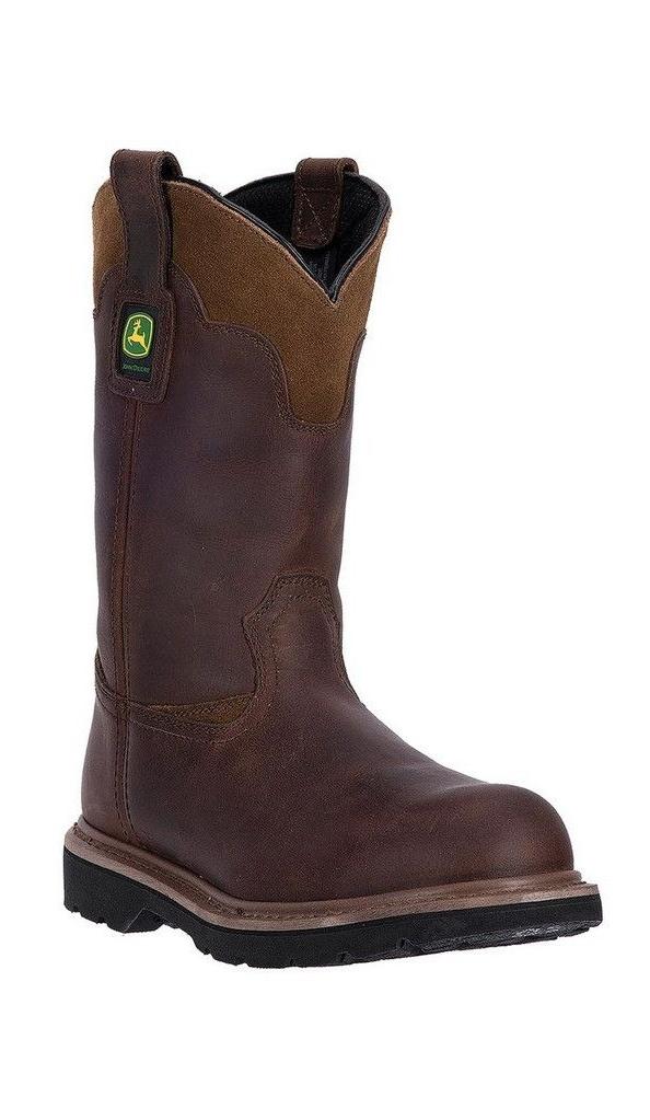"""John Deere Western Boots Mens 11"""" Deep Dip St EH Pull Brown JD4394 by John Deere"""