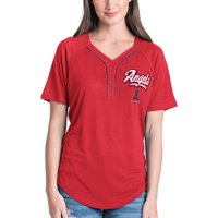 Women's New Era Red Los Angeles Angels Henley Mesh Jersey T-Shirt