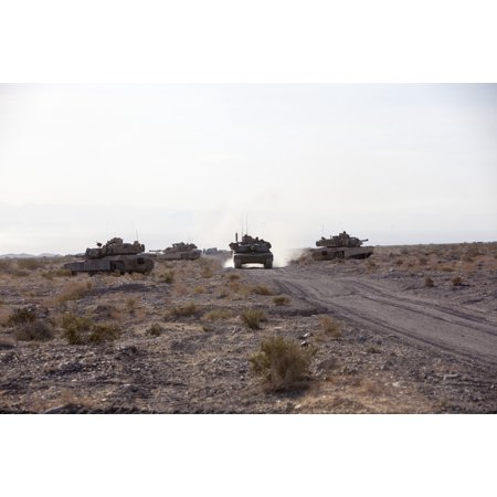 1st Marine Tank Battalion (LAMINATED POSTER M1A1 Abrams tanks assigned to Alpha Company, 1st Tank Battalion, 1st Marine Division provide route s Poster Print 24 x)