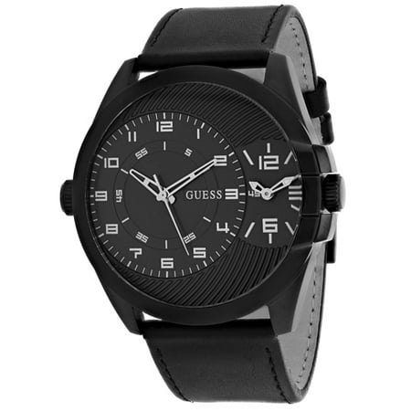 Quartz Black Dial Leather Strap Men's Watch W0505G5