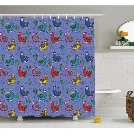 Llama Shower Curtain Cartoon Style Furry Animals With Mexican Folk Details Triangle And Cactus Kids