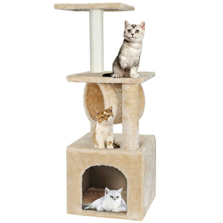 Segawe 36-in Cat Tree & Condo Scratching Post Tower, Beige