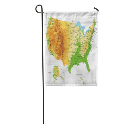 KDAGR California United States of America Physical Map Nevada Relief Idaho Garden Flag Decorative Flag House Banner 28x40 inch (Idaho Relief Map)