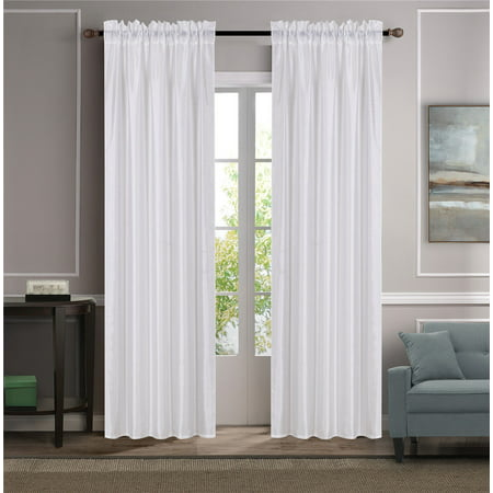 - MR2 WHITE 2-PC SET MYRA Rod Pocket Faux Silk Window Curtain Treatment, Set of Two (2) Solid Semi Sheer Panels 55