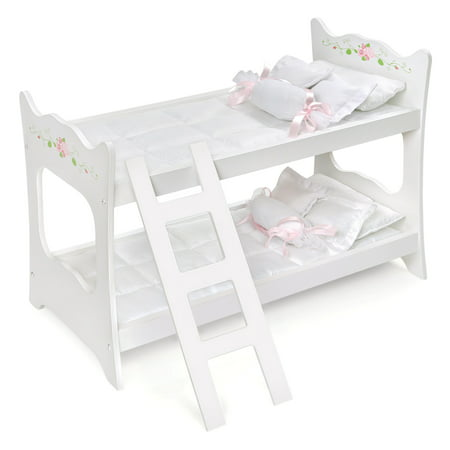Badger Basket Doll Bunk Bed with Ladder and Bedding - White Rose - Fits American Girl, My Life As & Most 18