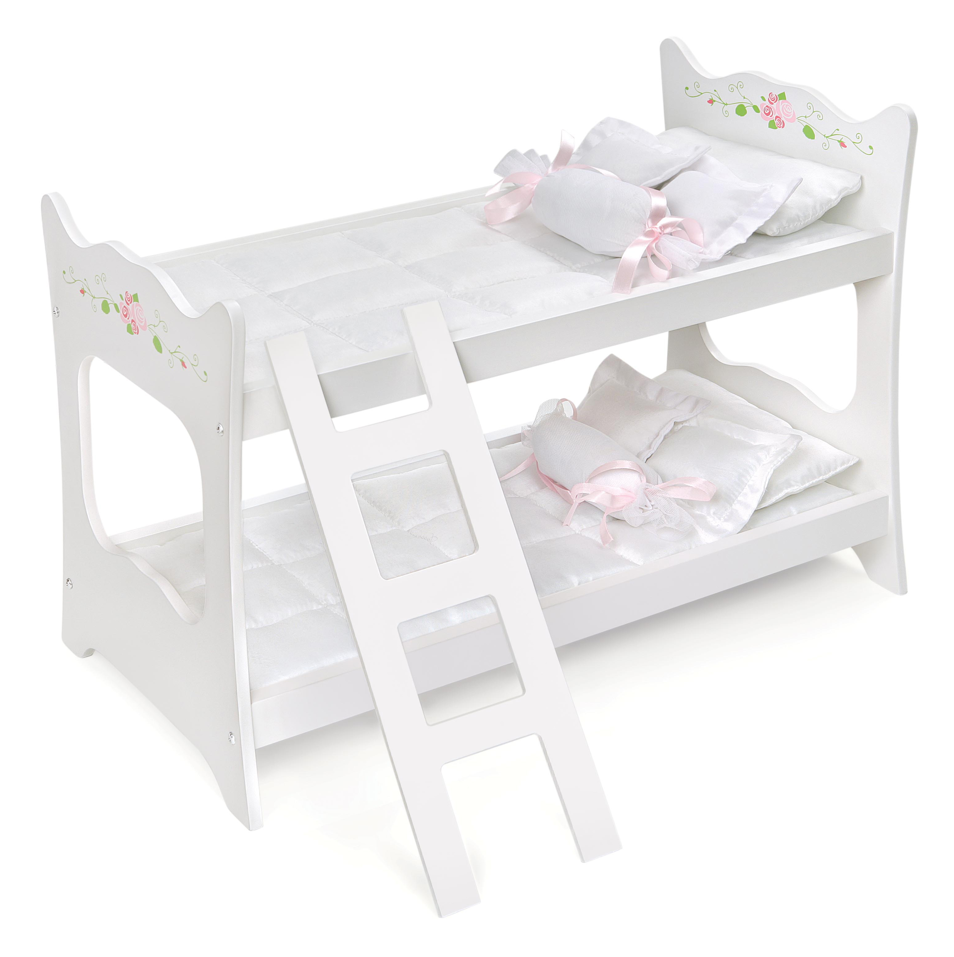 Badger Basket Doll Bunk Bed With Ladder And Bedding   White Rose   Fits American  Girl