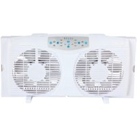 """Optimus F-5286 8"""" Reversible Twin Window Fan with Thermostat"""