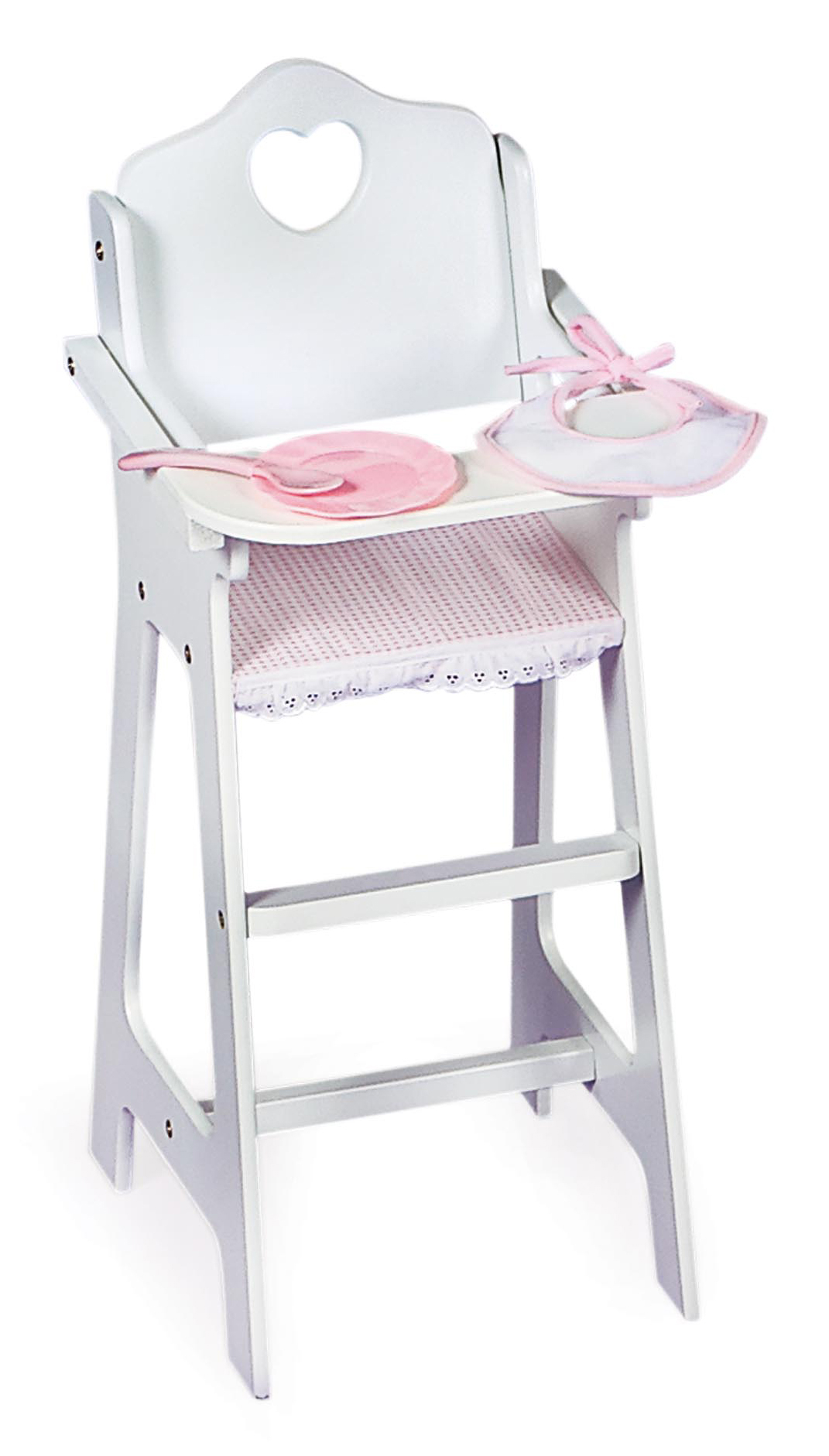 Badger Basket Gingham Doll High Chair With Plate, Bib, And Spoon   White/