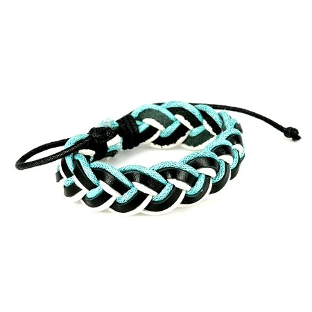 Fashion Jewelry Multi strand leather hemp cord surfer adjustable bracelet - black blue white