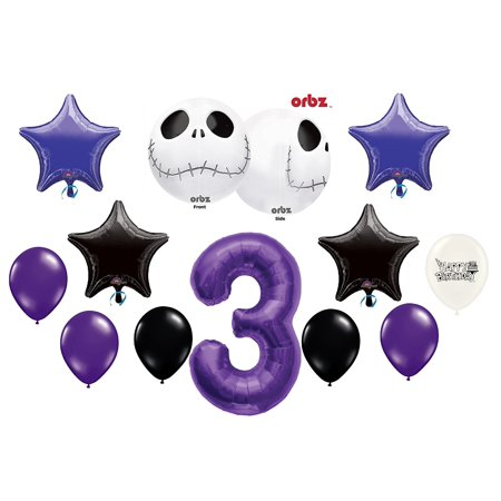 3rd Birthday Party Jack Skellington Nightmare Before Christmas Balloon Bouquet - Nightmare Before Christmas Birthday Halloween Party Supplies