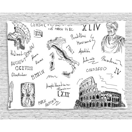 Gladiator Helmets (Toga Party Tapestry, Ancient Roman Period Icons Caesar Colosseum Gladiator Helmet Sketch Art, Wall Hanging for Bedroom Living Room Dorm Decor, 60W X 40L Inches, Black and White, by)