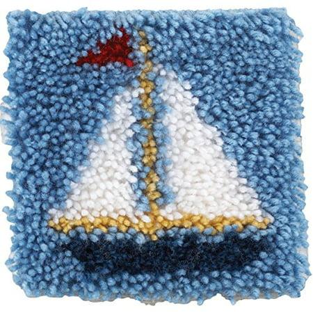 Spinrite Wonderart Latch Hook Kit, 8 by 8-Inch, Sailboat](Latch Hook Kits For Kids)