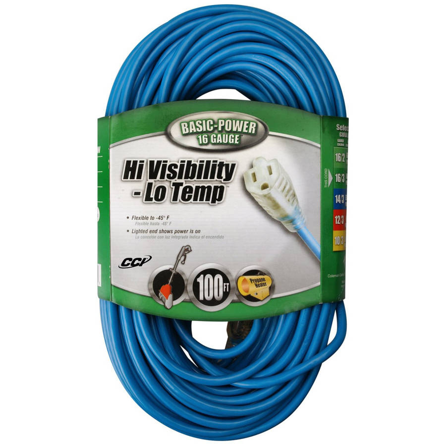 Coleman Cable 02369 16/3-Gauge High Visibility and Low Temperature Outdoor Extension Cord, 100', Blue