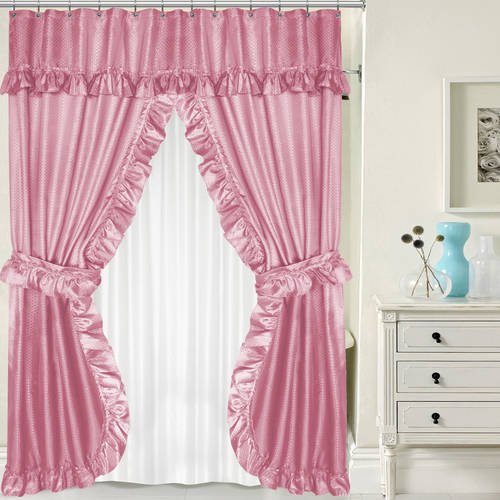Lauren Double Swag PEVA Fabric Shower Curtain With Tie