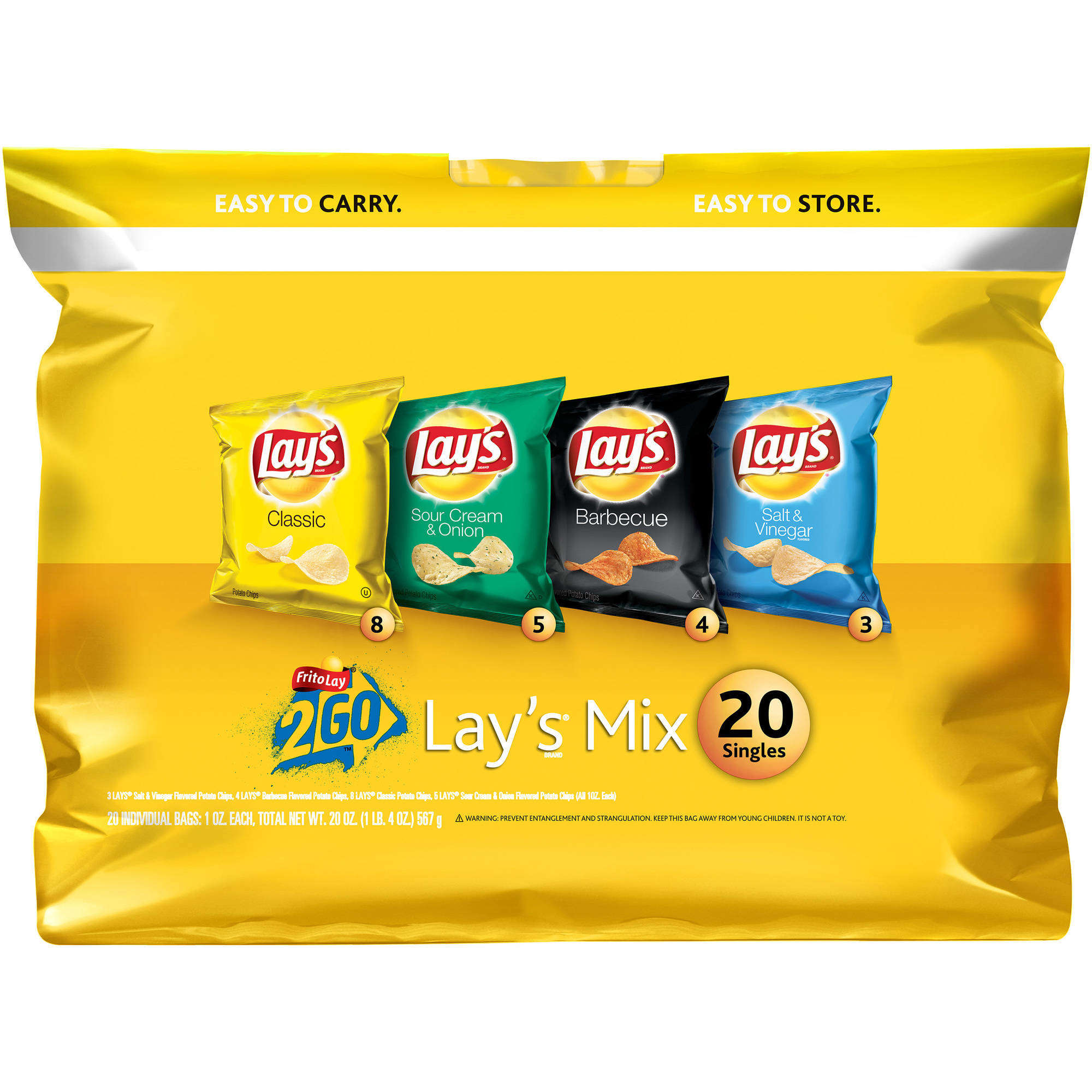 Lay's Mix Potato Chips Variety Pack, 20 Count, 1 oz Bags